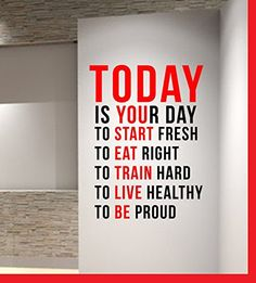 Home Gym - TODAY IS YOUR DAY Gym Motivational Wall Decal Quote Crossfit Fitness Black -red Bubbles Designs www.amazon.ca/... - http://amzn.to/2fSI5XT