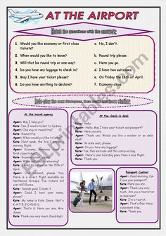 At the airport (Role-play and Conversation) - 2 pages + B&W version - ESL worksheet by moni_k English Teaching Materials, English Teaching Resources, English Writing Skills, Esl Lessons, English Lessons, Learn English, Grammar And Vocabulary, English Vocabulary Words, Travel English