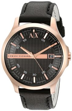 Armani Exchange Men's AX2129 Black Leather Watch. Rose gold-tone watch featuring grid-patterned inner dial, logoed bar across center, and date window at 3 o'clock position. 46 mm rose gold-tone stainless steel case with mineral dial window. Quartz movement with analog display. Leather band with tonal stitching and buckle closure. Water resistant to 50 m (165 ft): In general, suitable for short periods of recreational swimming, but not diving or snorkeling.