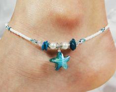 Jewelry Crafts, Jewelry Bracelets, Jewelery, Handmade Jewelry, Anklet Bracelet, Pearl Bracelet, Ankle Jewelry, Beaded Anklets, Beach Jewelry