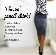 Knit Pencil Skirt Tutorial. . .will translate to english. .. 1 yard of knit . . .I would use wide elastic for waist. . .