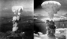 Images des champignons atomiques Hiroshima (à gauche) et Nagasaki (à droite).