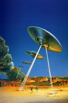 I'm back with some Fantasy-art, Sci-fi shit! This time it's the great Uk novel-art coverist and artist Bruce Pennington. Fantastical atmospheres, Ufo, prophecies, destruction and anticipation were the lead of his sci-fi part of work. Arte Sci Fi, Sci Fi Art, Sci Fi Kunst, Science Fiction Kunst, Digital Foto, Comics Illustration, Aliens And Ufos, Flying Saucer, Atomic Age