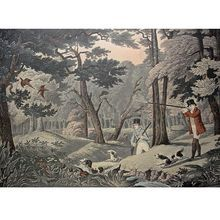 19th Century Print Robert Havell Jr Pheasant Shooting Black Park Near Uxbridge