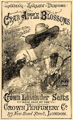 Vintage ad for Crown Perfumery Co., London, featuring Crab Apple Blossoms perfume and Crown Lavender Salts