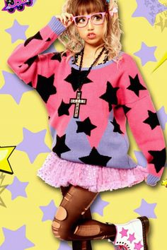 Pink tutu, pink and purple star sweater, cute, KAWAII FASHION https://sweetbox.storenvy.com