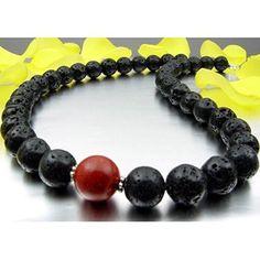 Kette Collier aus Lava & Schaumkoralle 925 Silber schwarz rot Halskette Damen