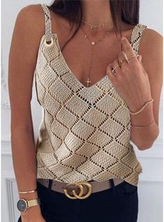 Ärmelloser Pullover, Sleeveless Outfit, Sleeveless Tops, Casual Sweaters, Casual Shirts, Tee Shirts, Knitted Tank Top, Cropped Tank Top, Cold Shoulder Sweater