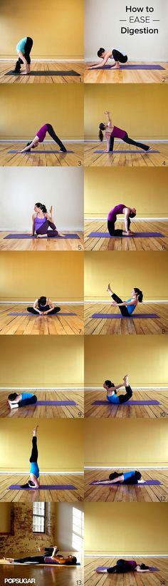 Yoga to Ease Digestion - jadore, je n'ai pas fait le poirier sur la tête car je nai pas les capacités encore mais le reste est top très relaxant apres un workout tout en jambe!!!