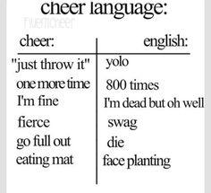 Cheer language and English language