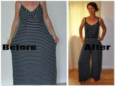 Maxi dress refashioned into a womens jumpsuit/romper. Still not sure about this one.