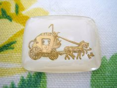 Vintage glass intaglio cameo rare colorway ivory gold stagecoach coach