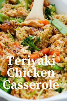 Pety Kitchen: Teriyaki Chicken Casserole - New ideas Shredded Chicken Casserole, Teriyaki Chicken Casserole, Shredded Chicken Recipes, Chicken Enchiladas, Healthy Casserole Recipes, Healthy Crockpot Recipes, Casserole Dishes, Cooking Recipes, Freezer Cooking