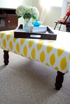 DIY thrift store coffee table ottoman