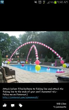 Attach helium filled balloons over pool on fishing line! Smart