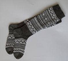 Scandinavian pattern autumn fall winter knit knee-high grey and white wool socks Christmas gift CUSTOM MADE