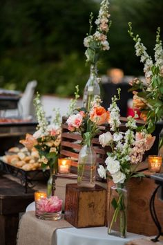 STUNNING blush and white floral catering display #cedarwoodweddings Rustic Luxe Destination Wedding at Historic Cedarwood | Cedarwood Weddings