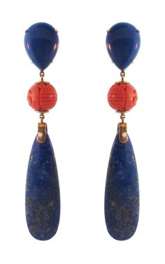 Lapis Lazuli And Coral Fragment Earrings by SILVIA FURMANOVICH for Preorder on Moda Operandi