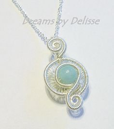 Wire Wrapped Amazonite Necklace  Silver by DreamsByDelisse on Etsy, $26.00