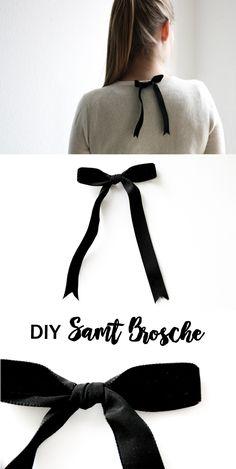 DIY Samt Schleifen Brosche zur Pullover Verschönerung || Do it Yourself Mode Fashion | Velvet | Easy und einfach | Geschenk | Bow Brooch | Fest | Feiern | festlich | Tutorial | femme | basteln | clothing | Kleidung