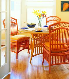 My favorite Maine Cottage chairs. Comes in so many colors and patterns.I'm just obsessed! Cottage Dining Rooms, Dining Room Furniture, Outdoor Furniture Sets, Wicker Table And Chairs, Dining Chairs, Dining Area, Painted Wicker, Painted Furniture, Cane Furniture