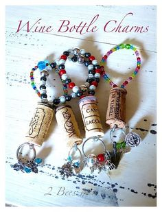 Using old wine corks to make wine bottle charms...how clever! And I love how cheap they were to make--could be cute for a little gift :)
