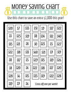 Use this Money Savings Chart to save an extra $1,000 this year! It's fun, flexible, DO-ABLE, and super easy to hit. A perfect challenge for your wallet.