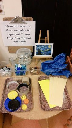 Reggio Emilia art projects inspired by Van Gogh, for example. Children have time to explore. Reggio Emilia, Kindergarten Art, Preschool Art, Preschool Activities, School Age Activities, Middle School Art, Art School, School Play, Van Gogh