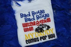 Items similar to Bad Boys Cop Saying Embroidered t shirt or bodysuit on Etsy Police Officer Wife, Police Wife Life, Police Family, Diy Kids Shirts, My Cop, Leo Wife, Police Shirts, Thin Blue Lines, Shirts With Sayings