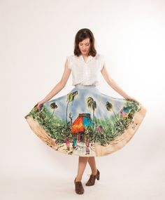 50s Circle Skirt - 1950s Mexican Tourist Skirt - Hand Painted Yucatan Scenes. $98.00, via Etsy.
