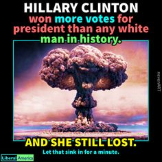 She won more votes than any candidate in history except for Barack Obama. Yet the system is set up so American's don't get to decide who our president is. Hillary Rodham Clinton, Liberal Politics, Political Views, Food For Thought, Feminism, Equality, Donald Trump, Presidents, Things To Think About
