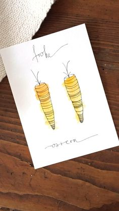 #karte #ostern #basteln #postkarten #diy #osterdeko #postkarten #kartenmalen #malerei #hasi #karotten Easter Card, Urban Sketching, Easter Crafts, Line Drawing, Coco, Watercolors, Diy Gifts, Hand Lettering, Diys