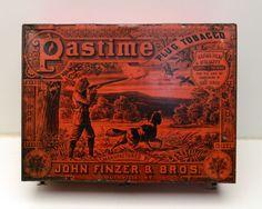 Antique Tobacco Tin Pastime Plug Tobacco John Finzer Bros 1890's RARE | eBay