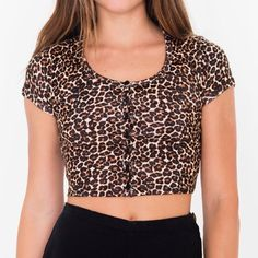 Leopard printed baby rib button crop top Brand new with tags!  Tried on and never worn. American Apparel Tops Crop Tops
