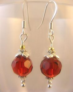 Red Glass Faceted Beads Drop Dangle Earrings Great Holiday Look Gift Ships Free #BullockDorchesterCollection #DropDangle