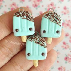 Mint Chocolate Drizzle Popsicle Polymer Clay Charm