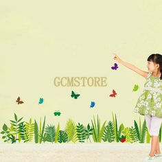 Skirting Grass Butterfly Kitchen Balcony Living Room PVC Removable Wall Stickers  #wallstickers #butterfly #girl #grass