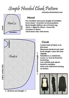 Simple Hooded Cloak Pattern by ~Nenesta on deviantART A super easy half-circle cloak that's not really a circle.