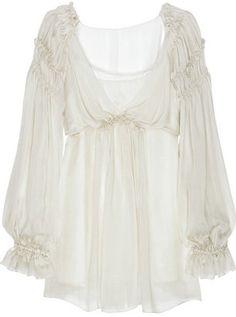 ShopStyle: Alberta Ferretti Ruffle silk-chiffon blouse