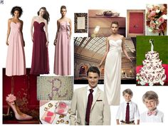 pink and wine : PANTONE WEDDING Styleboard : The Dessy Group