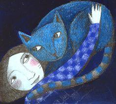 blue cat. Illustration by Natascia Ugliano