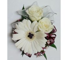 Jeweled Miniature Gerbera & Roses Wrist Corsage