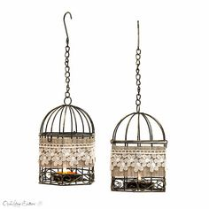 Set of 2 - Black and White Wire Bird Cages Metal Tealight Candle Holder - Wedding Hanging Lanterns - Home Decor #design #gifts