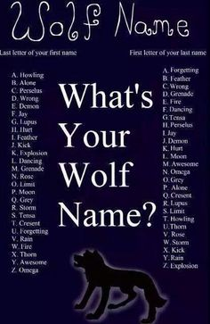 "What's your wolf name? :) I'm ""Howling Alone"". LOL (my initials are Lupus Lupus but my wolf name is {A) and {H} New Names, Cool Names, Birthday Scenario Game, Letras Cool, Unicorn Names, Fantasy Names, Name Games, Fb Games, Wolf Quotes"