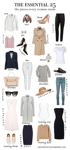 The Essential 25 Capsule Collection: the Key Pieces Every Woman Should Own - the crisp little look book Mode Outfits, Casual Outfits, Fashion Outfits, Womens Fashion, Fashion Tips, Fashion Trends, Women's Casual, Gap Outfits Women, Ladies Fashion