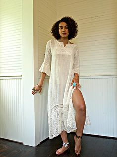Our Delilah Linen Maxi dress is constructed of French linen and lace. It's a tunic Kaftan style. Fits one size S-M - Model is for reference on length. Kaftan Style, Linens And Lace, White Dress, Tunic, French, Model, Shirts, Dresses, Fashion