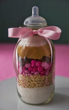 A Gift of Dry Cookie Mix - A Perfect Baby Shower Favor via #babyshowerideas4u #babyshowerideas Baby shower ideas for boy or girl