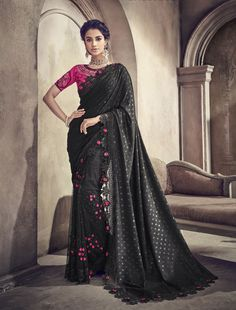 This wedding season look gorgeous and beautiful with this tempting black color party wear saree. This festive wear net saree is decorated with classic embroidery work. The saree comes along with match. Saree Wedding, Wedding Wear, Bridal Sarees, Black Net Saree, Net Blouses, Saree Shopping, Work Sarees, Traditional Sarees, Pink Saree
