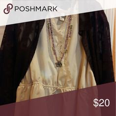 Beautiful top Beautiful tan short sleeve top with detail. Jacket be included as a set will give a discount for both.  Top 3x jacket  Ashley Stewart 26. Chelsea studio Tops Camisoles