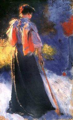Leon Wyczółkowski | Postać kobiety. Studium do Gry w krokieta, 1892, oil on cardboard, 32 x 19 cm, Muzeum Narodowe, Kraków